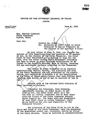 Primary view of object titled 'Texas Attorney General Opinion: O-939'.