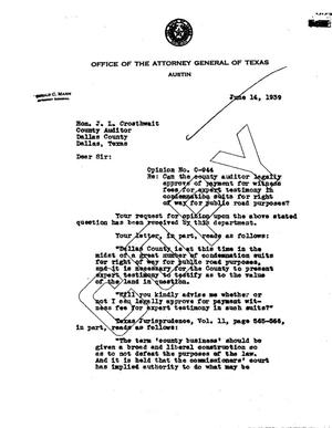 Primary view of object titled 'Texas Attorney General Opinion: O-944'.