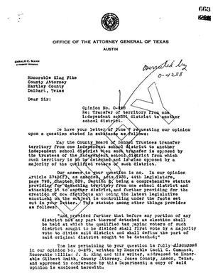 Primary view of object titled 'Texas Attorney General Opinion: O-948'.