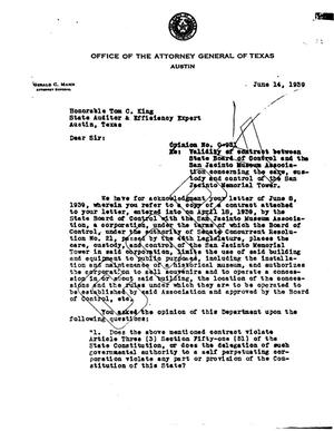 Primary view of object titled 'Texas Attorney General Opinion: O-951'.