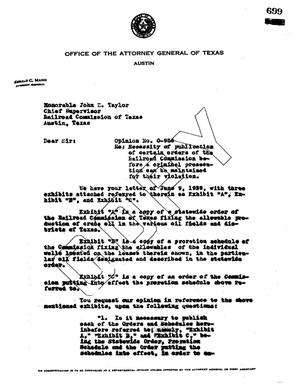 Primary view of object titled 'Texas Attorney General Opinion: O-956'.