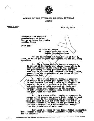 Primary view of object titled 'Texas Attorney General Opinion: O-959'.