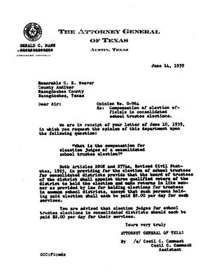Primary view of object titled 'Texas Attorney General Opinion: O-964'.
