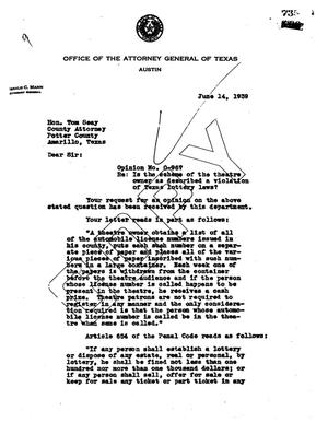 Primary view of object titled 'Texas Attorney General Opinion: O-967'.
