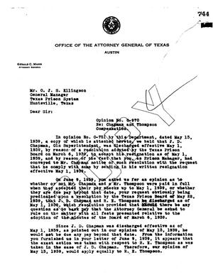 Primary view of object titled 'Texas Attorney General Opinion: O-970'.