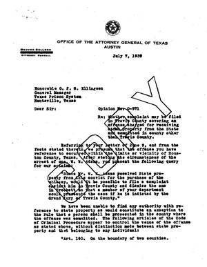 Primary view of object titled 'Texas Attorney General Opinion: O-971'.
