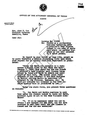 Primary view of object titled 'Texas Attorney General Opinion: O-973'.