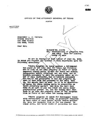 Primary view of object titled 'Texas Attorney General Opinion: O-974'.