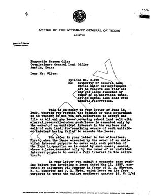 Primary view of object titled 'Texas Attorney General Opinion: O-975'.