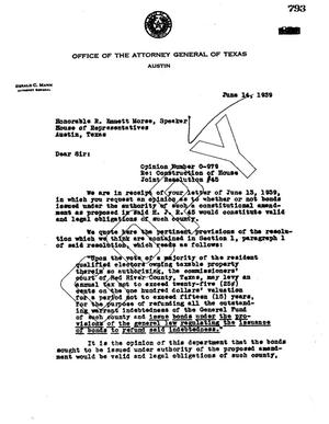 Primary view of object titled 'Texas Attorney General Opinion: O-979'.