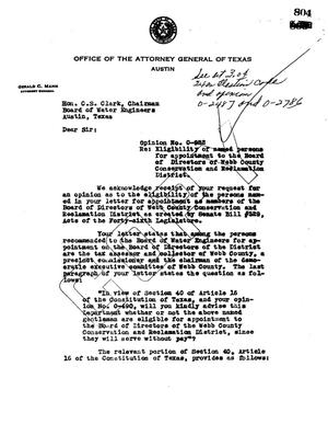 Primary view of object titled 'Texas Attorney General Opinion: O-982'.