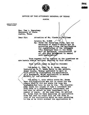 Primary view of object titled 'Texas Attorney General Opinion: O-983'.