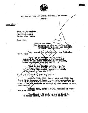 Primary view of object titled 'Texas Attorney General Opinion: O-987'.