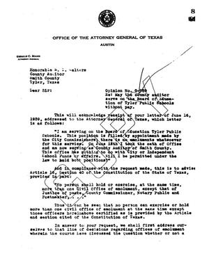 Primary view of object titled 'Texas Attorney General Opinion: O-989'.