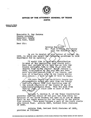 Primary view of object titled 'Texas Attorney General Opinion: O-997'.