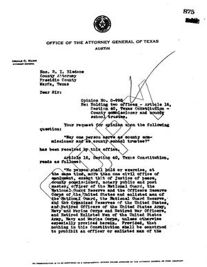 Primary view of object titled 'Texas Attorney General Opinion: O-998'.