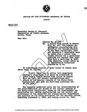 Primary view of object titled 'Texas Attorney General Opinion: O-1006'.