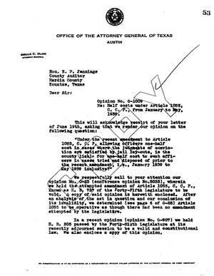 Primary view of object titled 'Texas Attorney General Opinion: O-1009'.