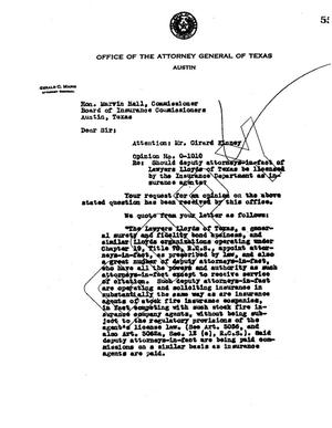 Primary view of object titled 'Texas Attorney General Opinion: O-1010'.