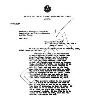 Primary view of object titled 'Texas Attorney General Opinion: O-1012'.