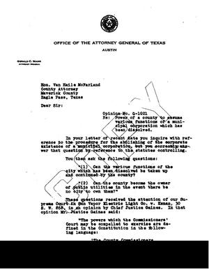 Primary view of object titled 'Texas Attorney General Opinion: O-1021'.