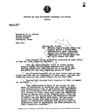 Primary view of object titled 'Texas Attorney General Opinion: O-1022'.