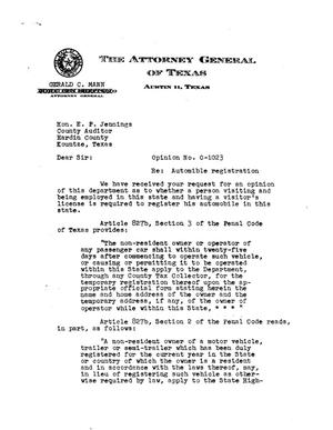 Primary view of object titled 'Texas Attorney General Opinion: O-1023'.