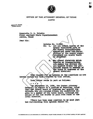 Primary view of object titled 'Texas Attorney General Opinion: O-1031'.