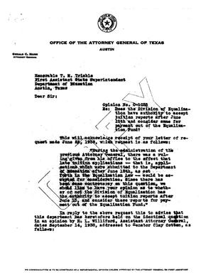 Primary view of object titled 'Texas Attorney General Opinion: O-1035'.