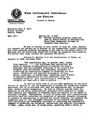 Primary view of object titled 'Texas Attorney General Opinion: O-1037'.