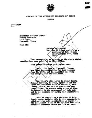 Primary view of object titled 'Texas Attorney General Opinion: O-1041'.