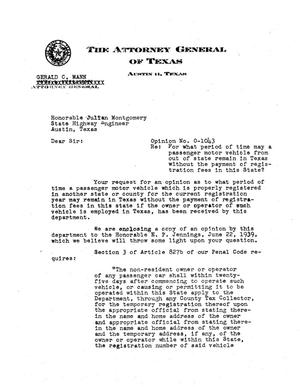 Primary view of object titled 'Texas Attorney General Opinion: O-1043'.