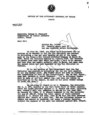 Primary view of object titled 'Texas Attorney General Opinion: O-1045'.