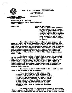 Primary view of object titled 'Texas Attorney General Opinion: O-1047'.