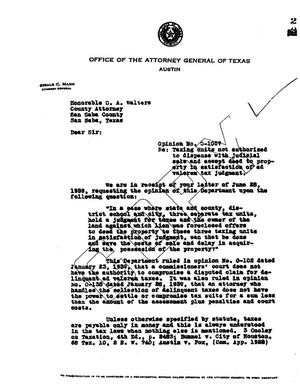 Primary view of object titled 'Texas Attorney General Opinion: O-1057'.