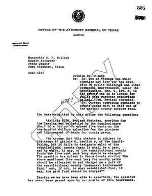 Primary view of object titled 'Texas Attorney General Opinion: O-1082'.