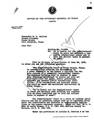 Primary view of object titled 'Texas Attorney General Opinion: O-1083'.