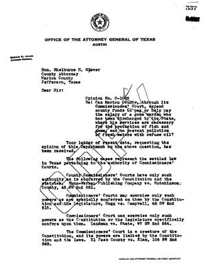 Primary view of object titled 'Texas Attorney General Opinion: O-1085'.