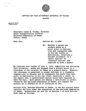 Primary view of object titled 'Texas Attorney General Opinion: O-1094'.