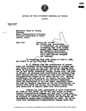 Primary view of object titled 'Texas Attorney General Opinion: O-1096'.
