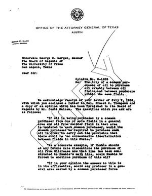 Primary view of object titled 'Texas Attorney General Opinion: O-1103'.