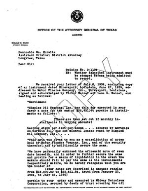 Primary view of object titled 'Texas Attorney General Opinion: O-1104'.