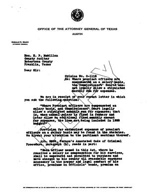 Primary view of object titled 'Texas Attorney General Opinion: O-1112'.