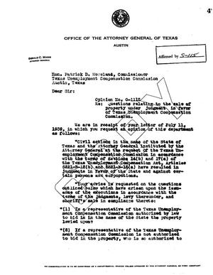 Primary view of object titled 'Texas Attorney General Opinion: O-1115'.