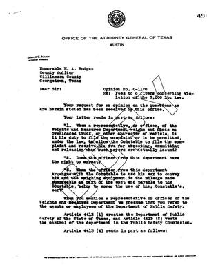Primary view of object titled 'Texas Attorney General Opinion: O-1120'.