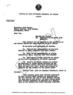 Primary view of object titled 'Texas Attorney General Opinion: O-1124'.