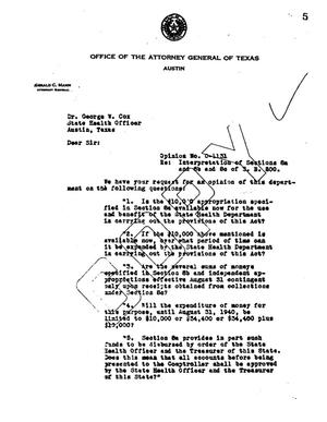 Primary view of object titled 'Texas Attorney General Opinion: O-1131'.