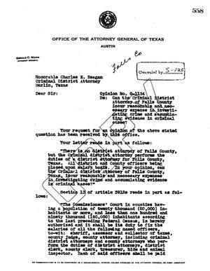 Primary view of object titled 'Texas Attorney General Opinion: O-1134'.