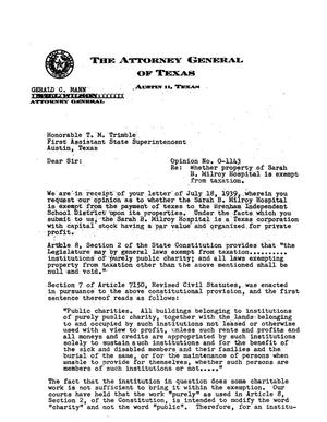 Primary view of object titled 'Texas Attorney General Opinion: O-1143'.