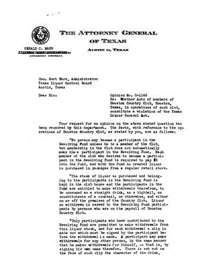 Primary view of object titled 'Texas Attorney General Opinion: O-1145'.